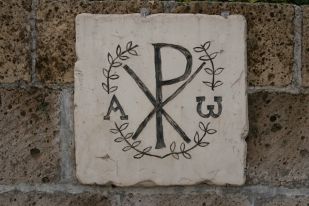 Chi rho from catacomb in Domitilla, Rome